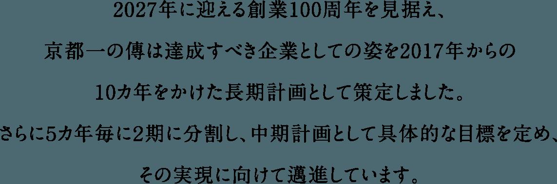 2027年に迎える創業100周年を見据え、京都一の傳は達成すべき企業としての姿を2017年からの10カ年をかけた長期計画として策定しました。さらに5カ年毎に2期に分割し、中期計画として具体的な目標を定め、その実現に向けて邁進しています。